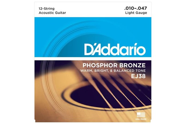 d 39 addario ej38 12 string phosphor bronze guitar strings light 10 47 heid music. Black Bedroom Furniture Sets. Home Design Ideas