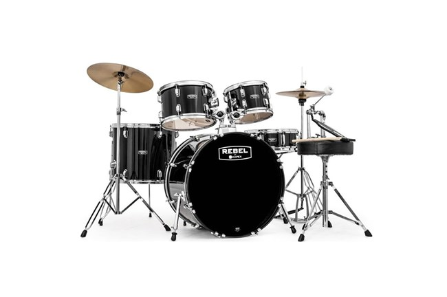 Black Mapex Rebel Drum Set with cymbals heidmusic.com