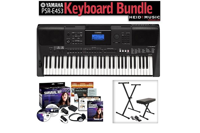 yamaha psr e453 keyboard bundle heid music. Black Bedroom Furniture Sets. Home Design Ideas
