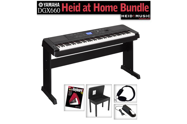 yamaha dgx 660 heid at home digital piano bundle heid music. Black Bedroom Furniture Sets. Home Design Ideas