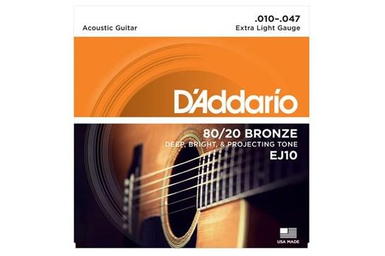 d 39 addario ej10 80 20 bronze acoustic guitar strings extra light 10 47 heid music. Black Bedroom Furniture Sets. Home Design Ideas