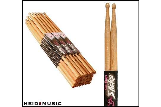 On-Stage 5A 5B hickory drumsticks sticks