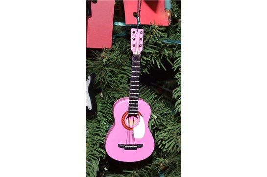 Pink Acoustic Guitar Ornament heid music