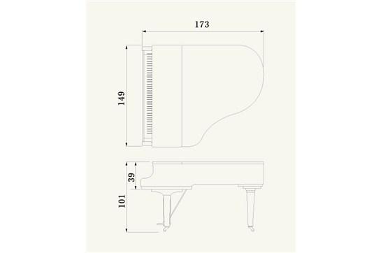 yamaha c2x grand piano  polished ebony