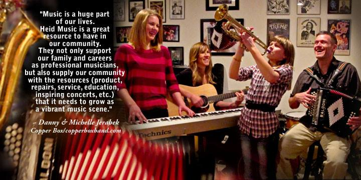 Danny & Michelle Jerabeck of the Copper Box band, make music part of their family with Heid Music.