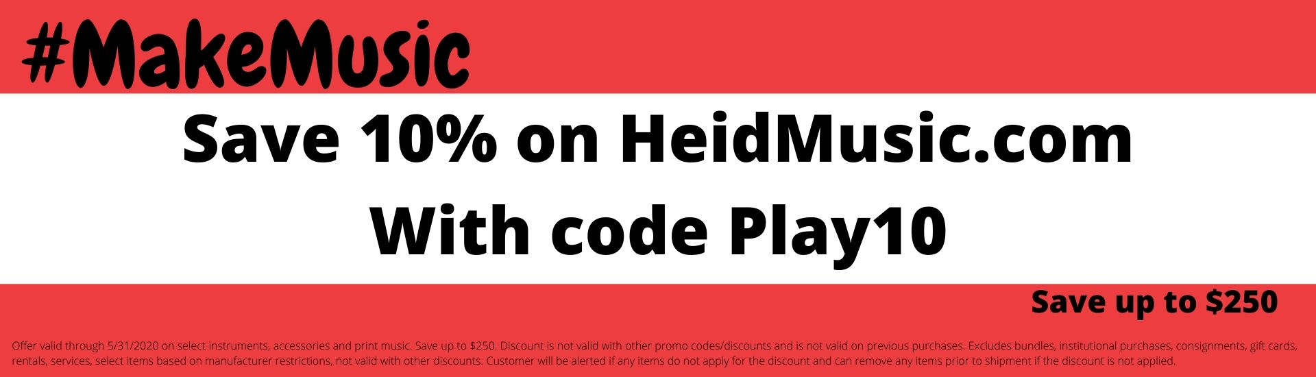 Save 10% on Instruments, music and accessories through May 31 with code Play10. Some exclusions may apply