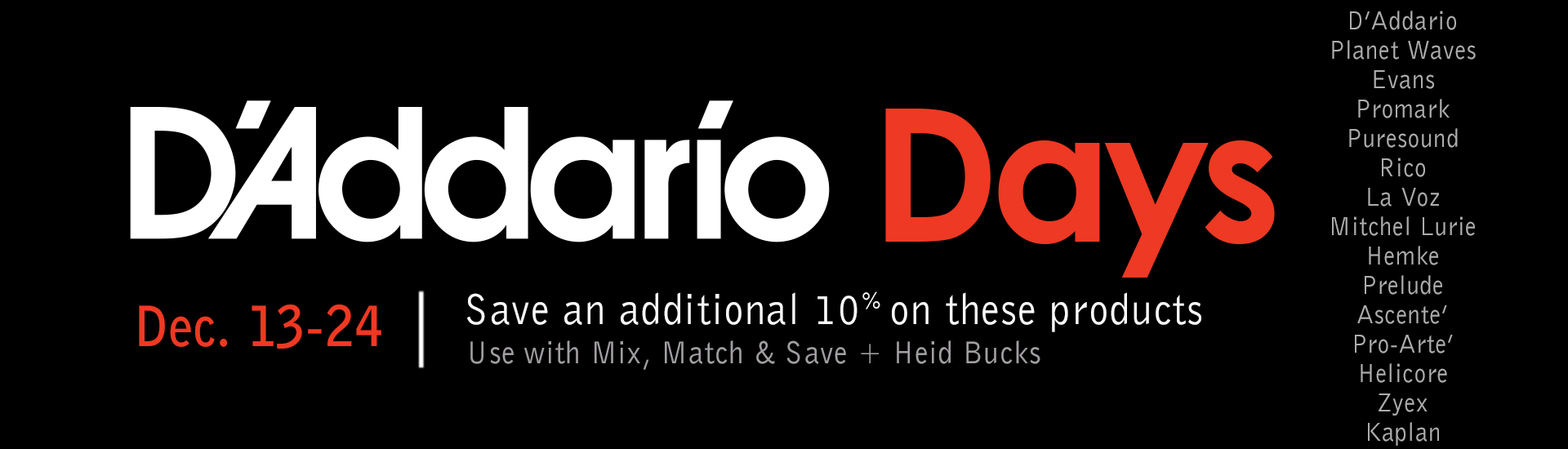 Save on D'Addario products