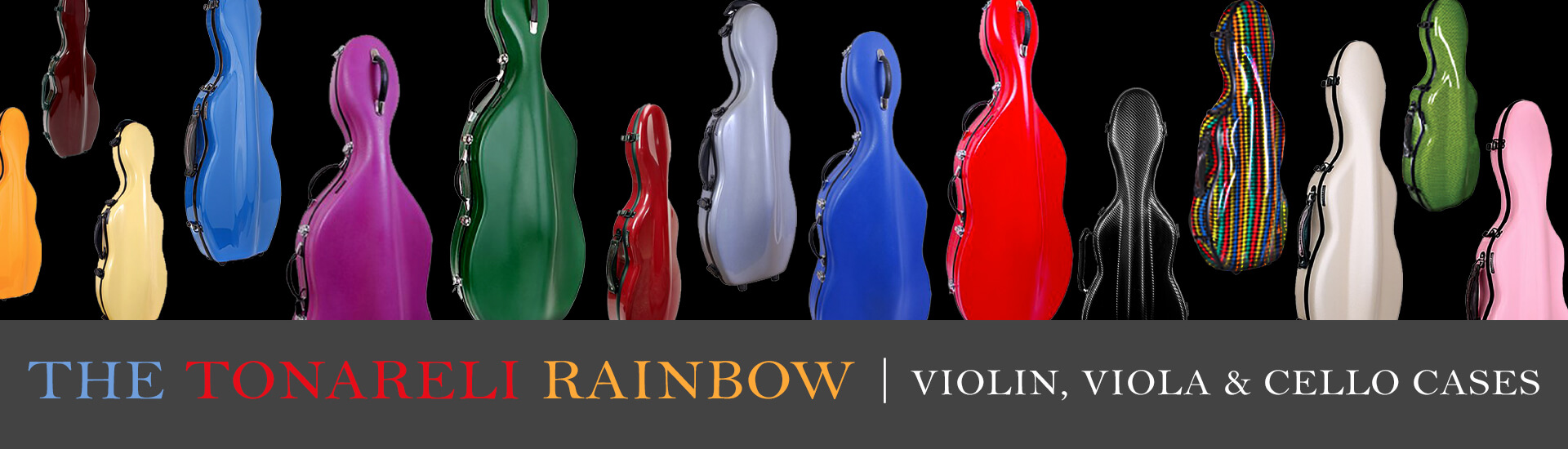 Violin, viola and cello cases in a huge selection of colors
