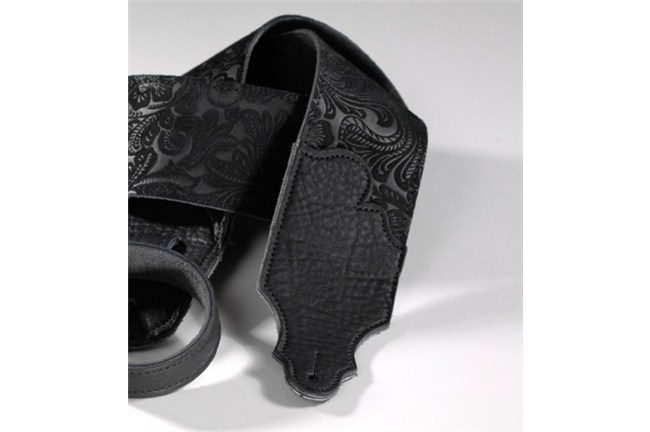 Franklin Embossed Suede Black Leather Guitar Strap