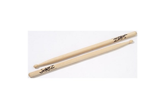 Zildjian 2B Hickory Drumsticks with a slightly oval bead. It is a great all-around stick!