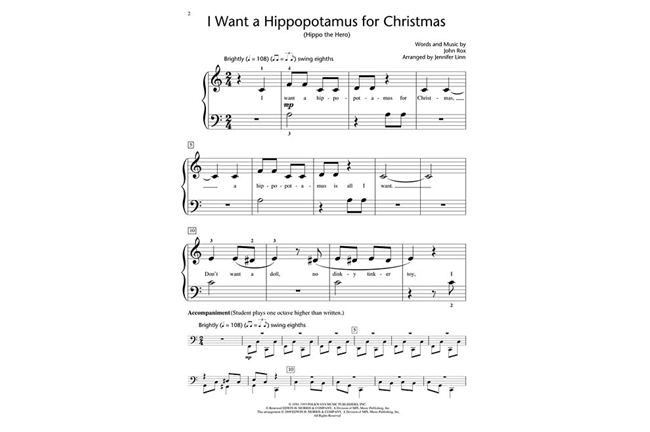 I Want A Hippopotamus For Christmas Lyrics.I Want A Hippopotamus For Christmas Heid Music