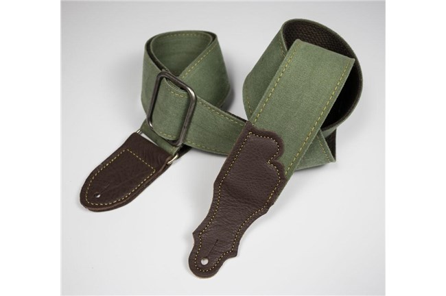Olive distressed canvas guitar strap