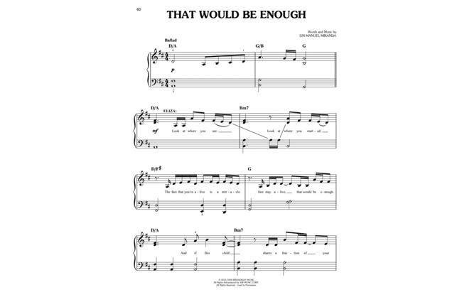 Hamilton Easy Piano Selections Sheet Music Book Musical Lin-Manuel Miranda