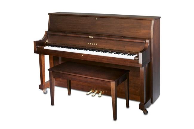 Yamaha p22m acoustic studio upright piano satin walnut for Yamaha upright piano weight