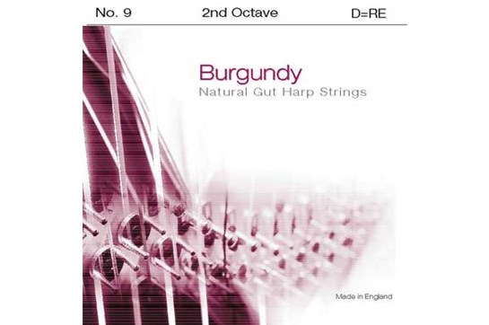 Burgundy 2nd Octave D Harp String