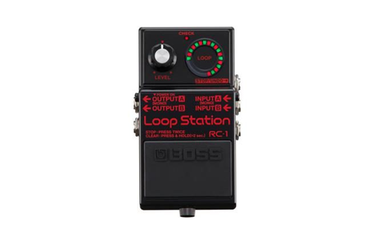 Black and red loop guitar pedal