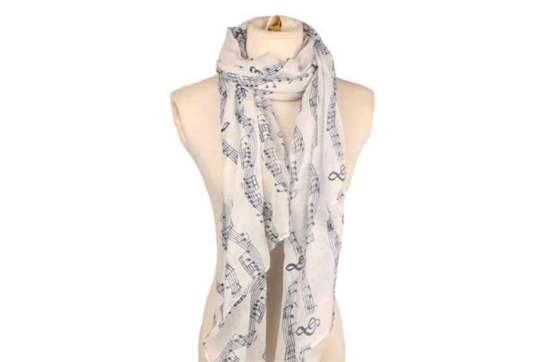 Lightweight Sheet Music Print Scarf