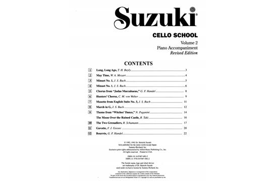 Suzuki Piano Books Contents