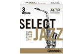 D'Addario Select Jazz Alto Saxophone Reeds (3 Medium, Filed)