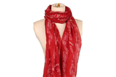 Lightweight Sheet Music Print Scarf - Red