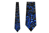 Musical Notes and Symbols Necktie (Black with Blue)