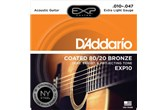 D'Addario EXP10 Coated 80/20 Bronze Acoustic Guitar Strings, Extra Light, 10-47