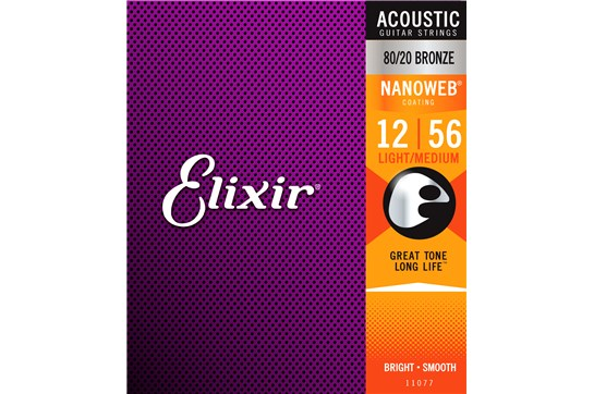 Elixir 11077 Nanoweb 80/20 Medium Light Acoustic Strings .012-.056