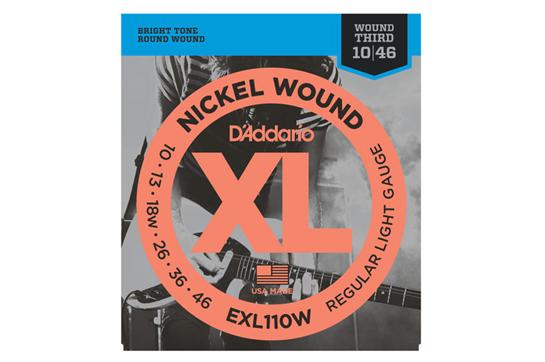 D'Addario EXL110W Nickel Regular Light Wound 3rd Electric Strings .010-.046