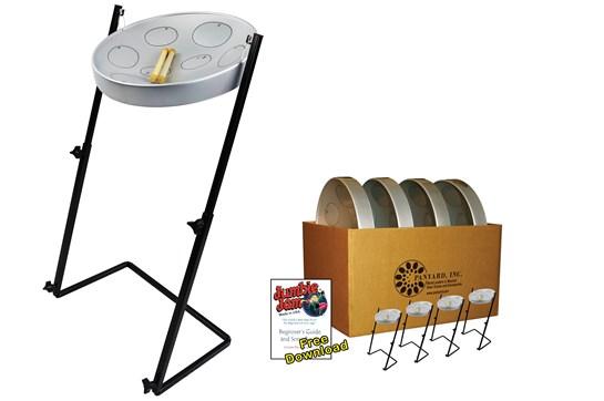 Panyard Jumbie Jam Steel Drum 4-Pack (Silver)