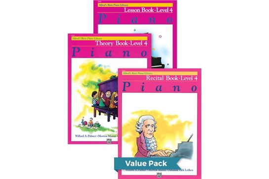 Alfred's Basic Piano Library Lesson, Theory, Recital 4 (Value Pack)