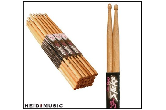 12 Pair Pack of On-Stage 5B Hickory Drumsticks (Wood Tip)