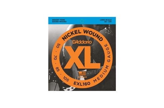 D'Addario EXL160 Nickel Wound Bass Strings, Medium, 50-105, Long Scale