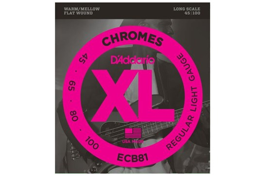 D'Addario ECB81 Chromes Bass Strings, Light, 45-100, Long Scale