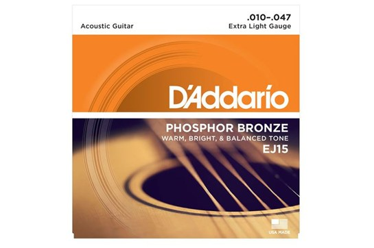 D'Addario EJ15 Phosphor Bronze Strings, Extra Light, 10-47