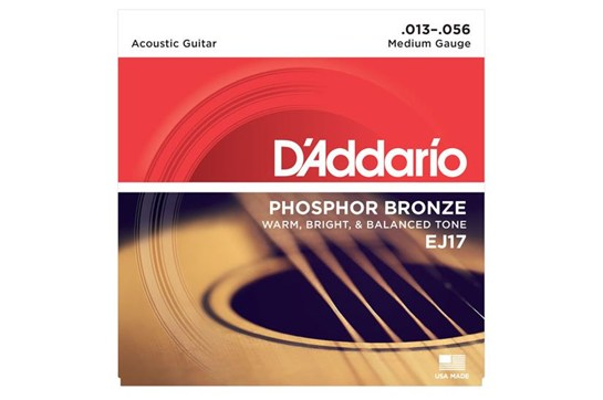 D'Addario EJ17 Phosphor Bronze Strings, Medium, 13-56