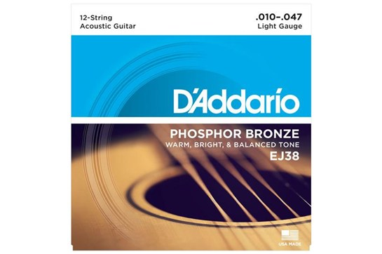 D'Addario EJ38 12-String Phosphor Bronze Guitar Strings, Light, 10-47