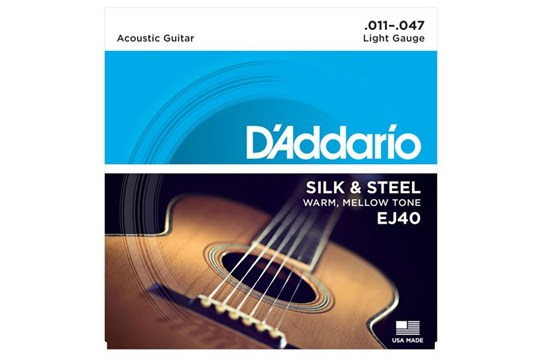 D'Addario EJ40 Silk & Steel Light Acoustic Strings .011-.047