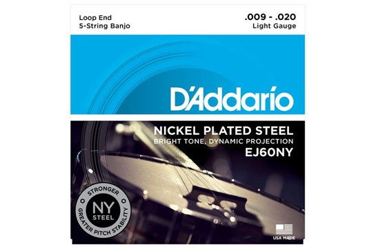 D'Addario EJ60NY 5-String Banjo Set, Nickel, Light, 9-20