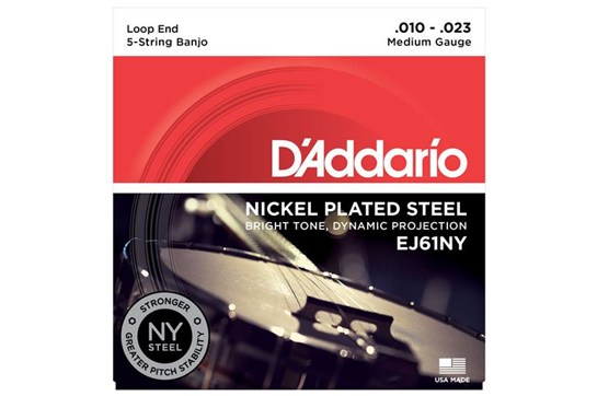 D'Addario EJ61NY 5-String Banjo Set, Nickel, Medium, 10-23