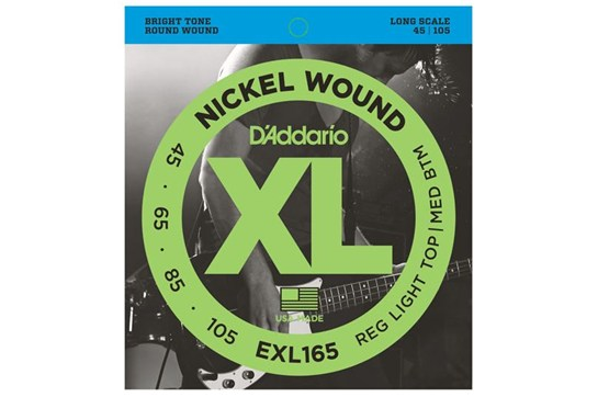 D'Addario EXL165 Nickel Wound Bass Strings, Custom Light, 45-105