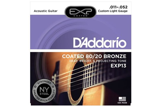 D'Addario EXP13 Coated 80/20 Bronze Guitar Strings, Custom Light, 11-52