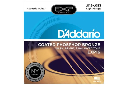 D'Addario EXP16 Coated Phosphor Bronze Strings, Light, 12-53