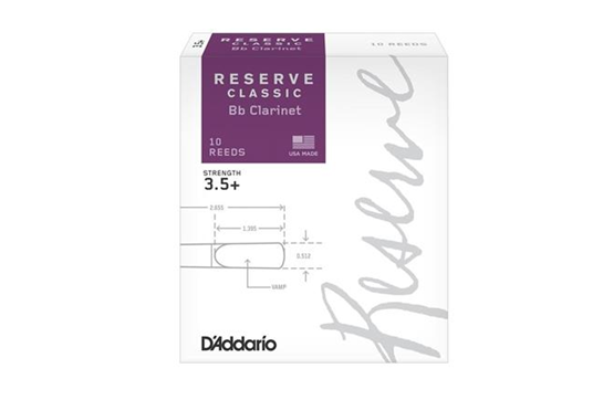 D'Addario Reserve Classic Clarinet Reeds (3.5+, 10 Pack)