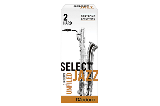 D'Addario Select Jazz Baritone Saxophone Reeds (2 Hard, Unfiled)