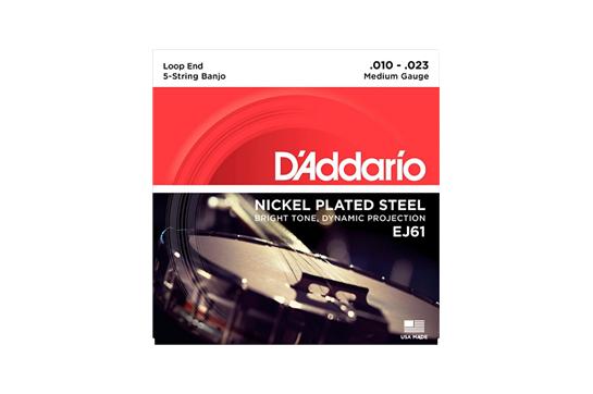 D'Addario EJ61 5-String Medium Banjo Strings .010-.023