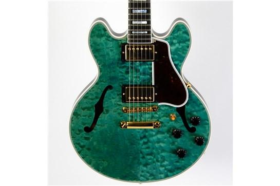 Used Gibson Custom CS-356 Q w/ OHSC & Cert 2015 (Transparent Aqua, Backside Navy Blue)