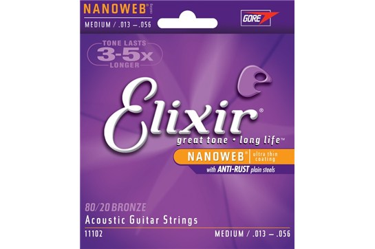 Elixir 11102 Nanoweb 80/20 Bronze Medium Acoustic Guitar Strings