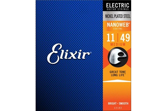 Elixir 12102 Nanoweb Nickel Medium Electric Strings .011-.049