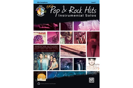Easy Pop & Rock Hits Instrumental Solos Book and CD (Alto Sax)