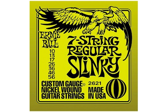 Ernie Ball 2621 7-String Regular Slinky Strings .010-.056